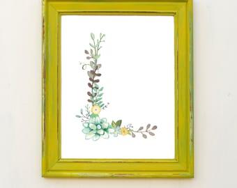 L - Floral Letter Print