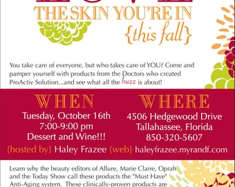 Love the Skin You're In Invitation (DIY or printed...can change colors and wording)