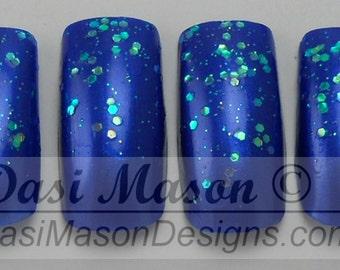 Cobalt Glitter Instant Acrylic Nail Set