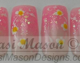 Pink Faded Daisy Chain Instant Acrylic Nail Set