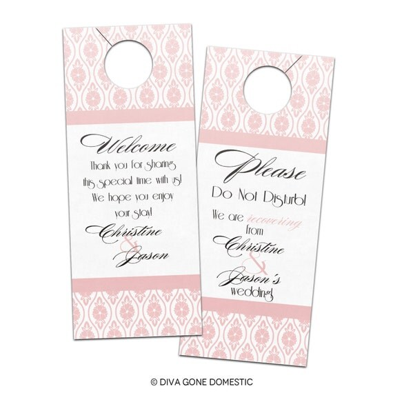Romantic Vintage Elegant Art Deco Wedding Door Hangers -  Customizable Bridal Privacy Door Hanger for Hotel Guests or Welcome Bags