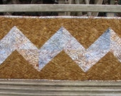 Table Runner - Brown and Gray Chevron Batik Quilted Runner