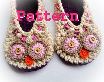 Cuddling Owls Crochet Slippers Pattern