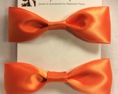Orange Bow Hair Clip Pair