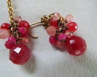 rose quartz, cherry quartz dangle cluster earrings