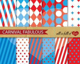CARNIVAL Scrapbook Patterns RED Blue Backgrounds Printable Instant Download
