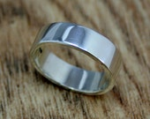 9ct White Gold Wide Wedding Band, Unisex, Men's Ring, Ethical, Eco-friendly, Ready to Ship Size O, UK Handmade