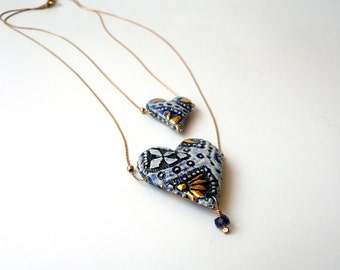 Porcelain Double Heart Necklace, White, Blue and Gold, Statement Necklace, Something Blue, Handmade by Cecilia Lind, StudioLind