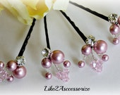 Flower Girl Bobby Pins, Pearl Hair Clip, Wedding Hair Accessories, Bridal Hair Pins, Pink Crystal Swarovski Pearl,  Bridal Hair Accessories