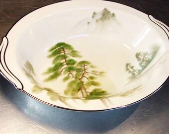 Vintage NORITAKE Toki Kaisha MYSTERY Oval VEGETABLE Bowl Pines World Ship