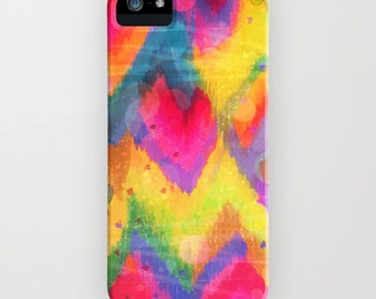 BOLD QUOTATION in Neons 2 Art iPhone 4 5 5c SE 6 6s 7 Plus Case Samsung Galaxy Plastic Phone Cover Colorful Abstract Painting Chevron Ikat