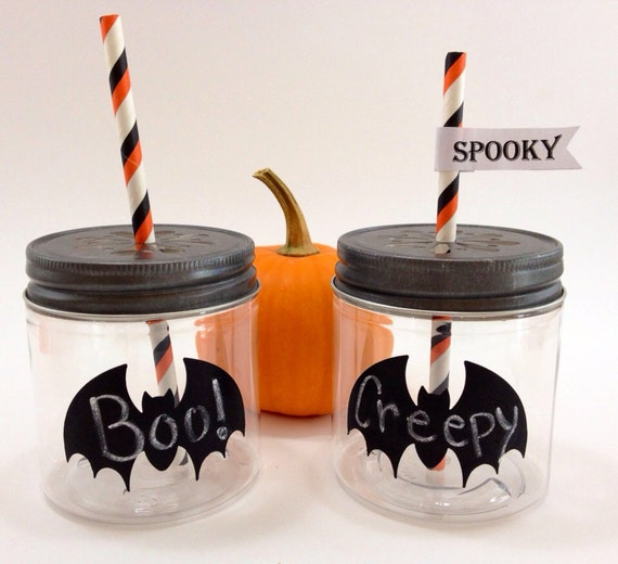 30- Halloween 8 oz  Plastic  Mason Jars with Daisy Cut Lids,  Halloween Party, Kid's party Spooky, Black Bat