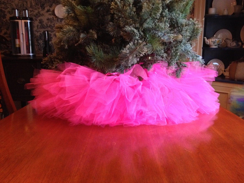 Pink christmas tree skirt tutu by bowsbaublesandbeads on etsy