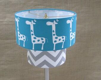 Lamp Shade Giraffe Drum Lampshade 2 Tier in Turquoise and Grey Gray Chevron