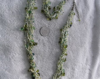 Vintage Necklace-10 Strand Green Crochet With GLASS Beads-N688