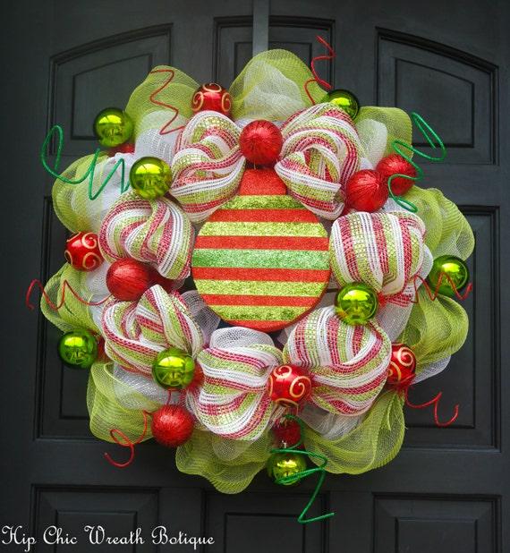 Items similar to christmas wreath deco mesh