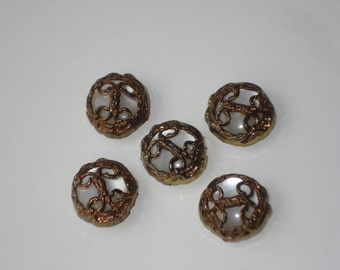 Vintage Button Cover Set  - Brass Tone Pearl - Fashion Accessories 1980s