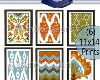 Ikat Digital illustration Wall Art - Set of (6) - 11x14 Prints - Featured in Orange Turquoise  (UNFRAMED)