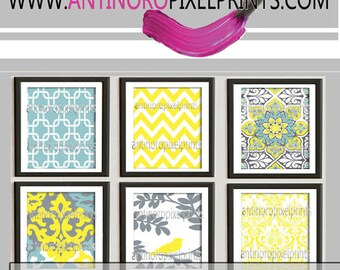 Digital Print Wall Art Yellow turquoise Grey Vintage / Modern inspired Wall Art -Set of 6 - 12x12 Prints -   (UNFRAMED)