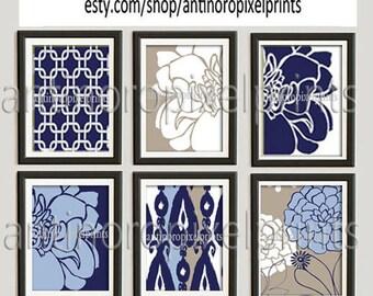 Navy Blue Khaki White Wall Art Vintage / Modern Inspired -Set of (6) - 8x10 Prints -  (UNFRAMED)