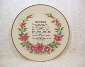 Dear Mother collector transferware plate cottage chic c1960s display Japan