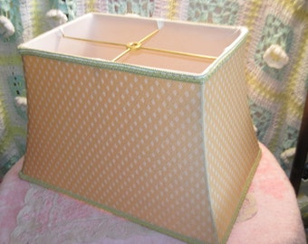 Lamp Shade Cloth, Cloth Lamp Shade, Vintage Lamp Shade, Vintage Gold Color Lamp Shade, Rectangle Long Light Shade Pretty Goldish Yellow  :)6