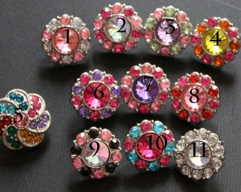 Rhinestone Buttons- Pack Of 10 Plastic Acrylic Rhinestone Buttons-21mm - Pick your own 10 Colors.