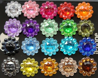 Rhinestone Centers 100 pieces 11mm Acrylic Rhinestone Crystal Embellishments For Flower Centers - pick your colors