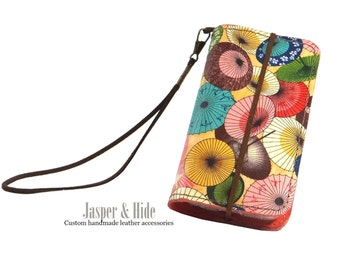 Leather Phone Wristlet- Japanese Umbrellas- Custom Crafted for any phone