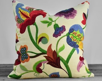SALE- Gloria Jubilee Richloom Floral Pillow Cover - Green Shades Red Yellow Orange and Purple on Ivory - Pick Your Size