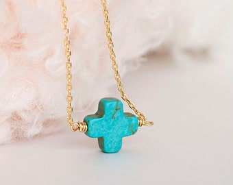 Turquoise Sideways Square Cross Necklace, Gold / Silver Chain, lj