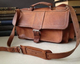 Leather Handbag Briefcase Crossbody Buckle Bag Satchel Artisan Sienna Brown Mini Briefcase