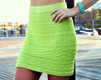 She's Electric Lime Green Aztec Pattern Bodycon Skirt Knitting Pattern INSTRUCTIONS