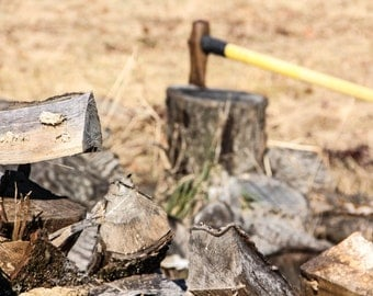 Chopped Wood Pile With Ax and Chopping Block Print