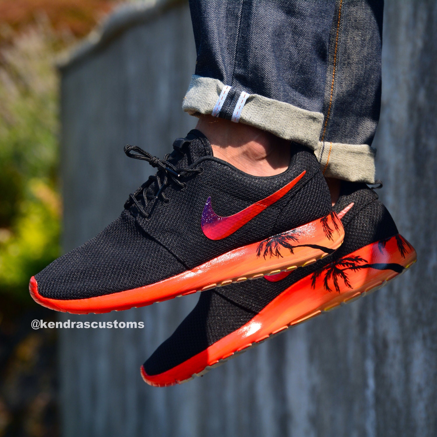 Roshe sunset soles custom mens size 11 roshes hand painted