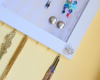 Jewelry Organizer, jewelry storage, White, Vanity, Mirror, Necklace Hanger, earring organization, Wall Mount (Patent Pending)