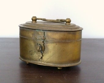 Vintage Brass Indian Cricket Box - Trinket Box