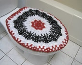 Crochet Toilet Seat Cover or Crochet Toilet Tank Lid Cover - red/black/white (TSC16A or TTL16A)