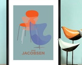 Mid century modern contemporary print, Decorative wall art featuring Jacobsen mid century egg chair, JACOBSEN SERIES wall art poster