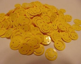 30 bright yellow smiley face confetti / sequins, 13 mm (7)+