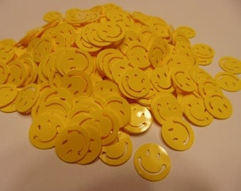 30 bright yellow smiley face confetti / sequins, 13 mm (7)C