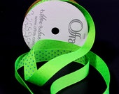 Apple Green Ribbon With Blue Dots - Polyester Grosgrain Berwick Offray Ribbon