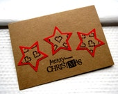 Christmas Card - Stars - Brown and Red