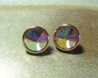 Avon Revoli stone rainbow pierced earrings gold tone 1980s