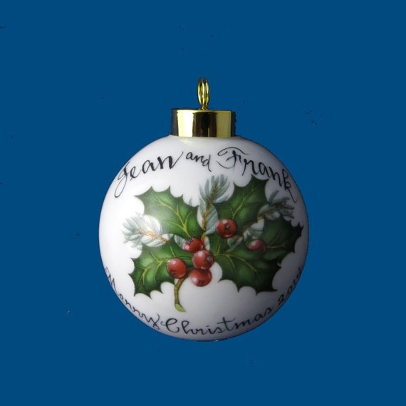Personalized Hand Painted Christmas Ornament with Holly