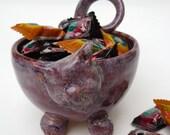 Ceramic Cat Dish-Ceramic Cat Bowl-Handmade Pottery Cat Bowl-Purple Cat Bowl