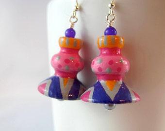 Earrings, wooden bead earrings, handpainted beads, whimsical, purple pink orange, patterns, colorful, funky
