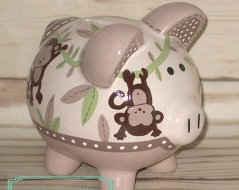Artisan hand painted ceramic personalized piggy bank ~ tan, cream, brown, green monkey jungle theme