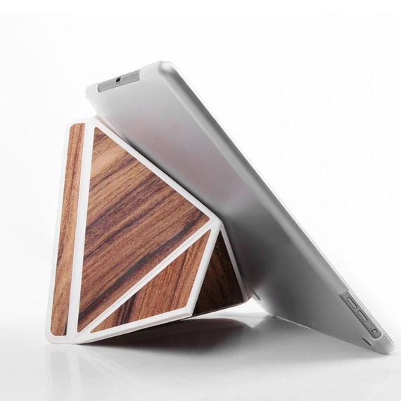 iPad Case iPad Stand Tablet Stand Cover with Back Smart Cover Automatic for iPad Air1 Leather/Wood Combination Tablet Case Christmas Gift