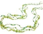 Multi green jade,crystal long necklace.